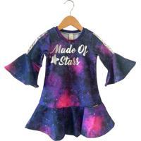 Vestido Gira Baby Kids Galáxia Roxo