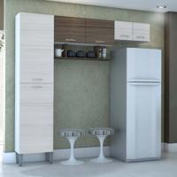 Cozinha Compacta Cris 6Pt Branco E Rovere
