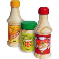 Brincando De Comidinhas New Art - Kit Ketchup, Mostarda E Maionese - Madeira - 403 - Verde - Tricae