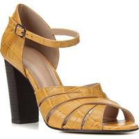 Sandália Couro Shoestock Croco Tiras Cruzadas Feminina - Feminino-Mostarda