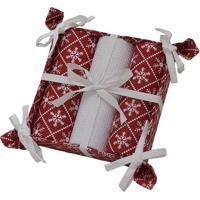Jogo De Toalha Com Cesta Natal- Vermelho & Branco- 3Mabruk