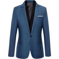 Blazer Masculino Sólido Elegante - Azul