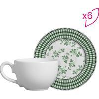 Conjunto De Xícaras De Chá Flat Floral- Branco & Verde Escalla Cerâmica