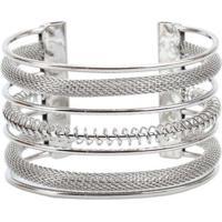 Pulseira Bracelete Com Textura De Manta De Metal D