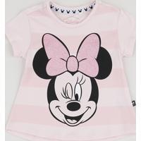 Blusa Infantil Minnie Manga Curta Rosa Claro