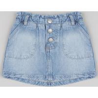 Saia Jeans Infantil Clochard Com Bolsos Azul Médio