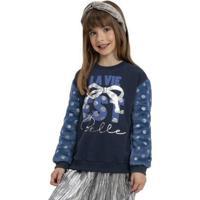 Casaco Infantil Em Molecotton E Pelo Azul