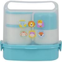 Kit Box Le Baby Com Garrafa, Garfo, Colher E Marmita Safari Com 6 Peças Modelo 1