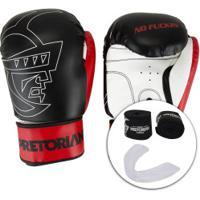 Kit De Boxe Pretorian: Bandagem + Protetor Bucal + Luvas De Boxe First - 14 Oz - Adulto - Preto/Vermelho