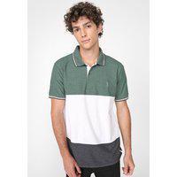 Camisa Polo Aleatory Reta Bicolor Verde/Branca