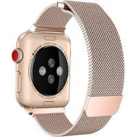 Pulseira Milanês Para Apple Watch 42Mm Aço Inoxidável Dark Gold Vintage