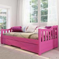 Cama Infantil Bicama American Em Madeira Maciça 1002 Rosa - Arbol Movelaria
