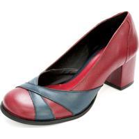 Sapato Boneca Couro Dali Shoes Salto Grosso E Recortes Vermelho