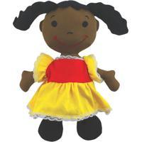 Boneca De Pano Ciã§A - Preta & Amarela- 36X22Cm -Papo De Pano