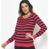 Blusa Em Tricot Listrada- Preta & Pink- Ponto Aguiarponto Aguiar