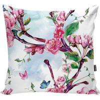 Capa De Almofada Floral- Branca & Rosa- 42X42Cm-Stm Home