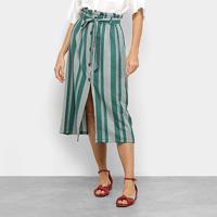 Saia Top Moda Midi Clochard Listrada Botões - Feminino-Verde