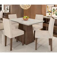 Conjunto De Mesa De Jantar Com Tampo De Vidro Bárbara E 4 Cadeiras Ana Animalle Off White E Creme