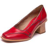 Sapato Vermelho Em Couro Pelica - Vermelho / Metalizado Aço 9308