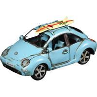 Miniatura Beetle Com Prancha De Surf Decorativo De Metal Azul