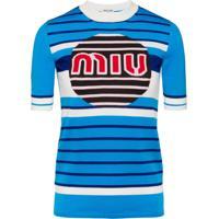 Miu Miu Logo Knit Pullover - Azul