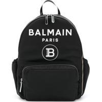 Balmain Kids Mochila Com Logo E Bolsos - Preto