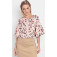 Blusa Cropped Floral- Rosa Claro & Azul- My Favoritemy Favorite Things
