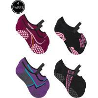 Kit 4 Meia Sapatilha Duck Pilates Yoga - Preto, Pink, Roxo E Ciano