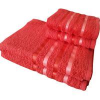 Jogo 4 Toalhas 2 Banho 2 Rosto - Onix Vermelho - Kanui