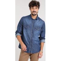b26414bc1 CEA  Camisa Jeans Masculina Com Bolsos Manga Longa Azul Escuro