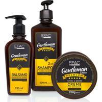 Kit Shampoo 2 Em 1 + Bálsamo + Creme De Barbear Efac Gentleman Edition