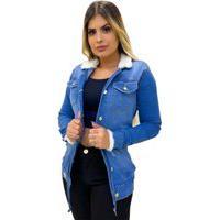 Parka Sobretudo Jaqueta Max Jeans Feminina Pelo Pelinho Azul