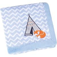 Manta Fleece Bordada Bebê Estampada Mini 76 Cm X 1,02 M Com 1 Peça - Produto Importado Lepper Azul