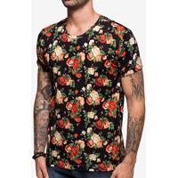 Camiseta Floral Preto 103862