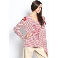 Blusa Listrada Com Bordado- Vermelha & Branca - ÊNfaãŠNfase
