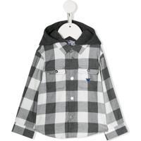 Emporio Armani Kids Camisa Xadrez Com Capuz - Cinza