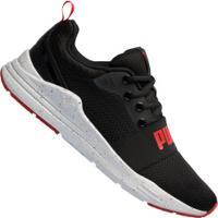 Tênis Puma Wired Run Speckles - Masculino - Preto/Vermelho