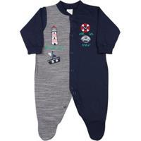 Macacão Bebê Malha Listrada Pontal Aventure Ano Zero Masculino - Masculino-Marinho