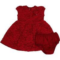 Vestido E Calcinha 1+1 De Renda Vermelho - Feminino-Vermelho