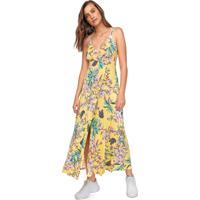 Vestido Fiveblu Longo Floral Amarelo/Rosa