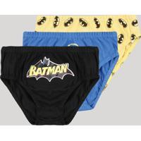 Kit De 3 Cuecas Infantis Batman Multicor