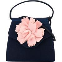 Charabia Bolsa Tiracolo Com Aplicação Floral - Azul