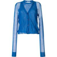 Helmut Lang Cardigan Com Recorte Translúcido - Azul
