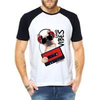 Camiseta Raglan Criativa Urbana Good Vibes Dog Retrô - Masculino