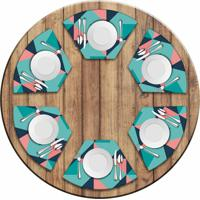 Jogo Americano Love Decor Para Mesa Redonda Wevans Abstract Blue Kit Com 6 Pçs