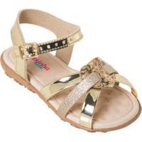 Sandália Molekinha Dourada Com Palmilha Confort