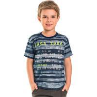 Camiseta Infantil Listrada Azul