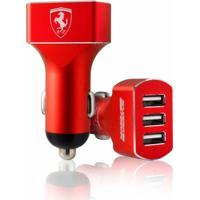 Carregador Veícular Ferrari 3 Entradas Usb Vermel - Unissex