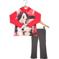 Conjunto 2Pçs Brandili Dog Infantil Vermelho/Cinza