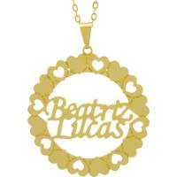 Gargantilha Horus Import Pingente Manuscrito Beatriz Lucas Banho Ouro Amarelo